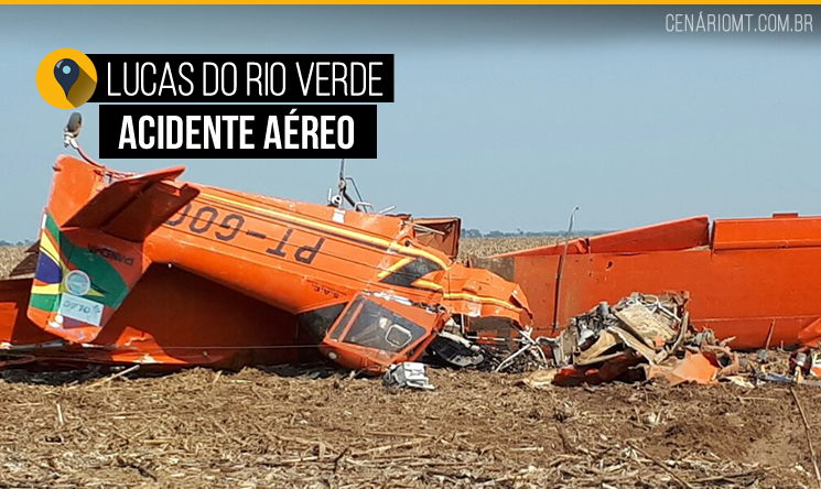 Avião agrícola cai em fazenda no interior; dois ficam feridos